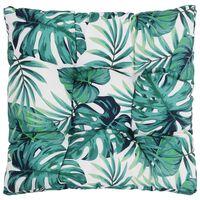 vidaXL Almofada de assento de jardim 80x80x10 cm tecido padrão folhas