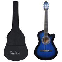 """vidaXL 12 pcs conjunto de guitarra acústica com 6 cordas 38"""" azul"""