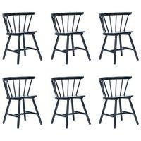 vidaXL Cadeiras de jantar 6 pcs madeira de seringueira maciça preto