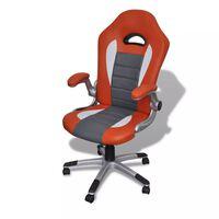 Cadeira para Escritório Couro Artificial Design Moderno Laranja
