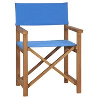 vidaXL Cadeira de realizador em madeira de teca maciça azul