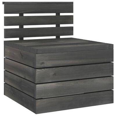 vidaXL 3 pcs conjunto lounge de paletes pinho maciço cinzento-escuro