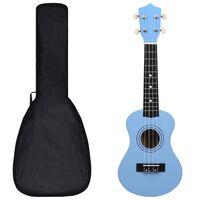 """vidaXL Conjunto ukulele soprano infantil com saco 21"""" azul-bebé"""