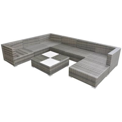 vidaXL 8 pcs conjunto lounge de jardim c/ almofadões vime PE cinzento