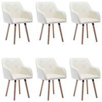 vidaXL Cadeiras de jantar 6 pcs tecido cor creme