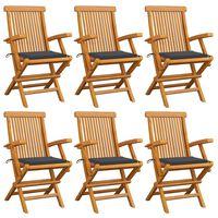 vidaXL Cadeiras de jardim c/ almofadões antracite 6 pcs teca maciça