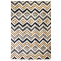 vidaXL Tapete moderno com design zigzag 80x150 cm castanho/preto/azul