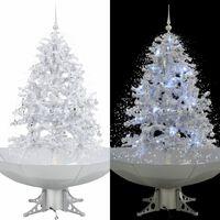 vidaXL Árvore de Natal c/ neve base formato guarda-chuva 140 cm branco