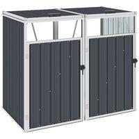 vidaXL Abrigo para caixote do lixo duplo 143x81x121 cm aço antracite