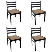 vidaXL Cadeiras de jantar 4 pcs seringueira maciça e veludo castanho
