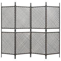 vidaXL Divisória de quarto com 4 painéis 240x200 cm vime PE castanho
