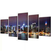 Políptico colorido horizonto Nova Iorque 200 x 100 cm