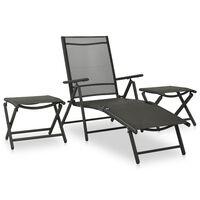 vidaXL 3 pcs conjunto lounge para jardim textilene e alumínio preto