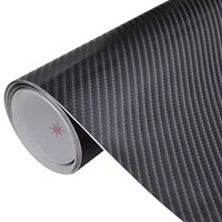 Película de carro, fibra de carbono 4D, em preto 152 x 200 cm