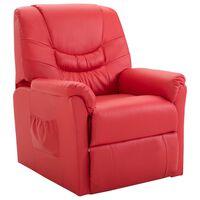 vidaXL Cadeira reclinável couro artificial vermelho