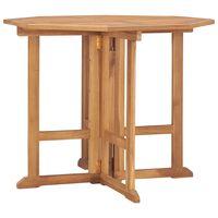 vidaXL Mesa de jantar p/ jardim dobrável 90x90x75 cm teca maciça
