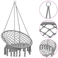 vidaXL Cadeira de baloiço em rede 80 cm cinzento
