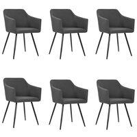 vidaXL Cadeiras de jantar 6 pcs tecido cinzento-escuro