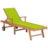 vidaXL Espreguiçadeira + almofadão verde brilhante madeira teca maciça
