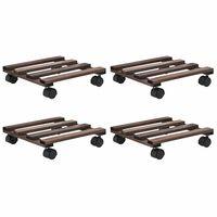 vidaXL Bases com rodas p/ vasos 4 pcs madeira de cedro 25x25 cm