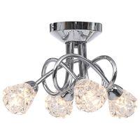 vidaXL Candeeiro de teto c/ abajures vidro reticulados 4 lâmpadas G9