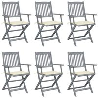 vidaXL Cadeiras exterior dobráveis c/ almofadões 6 pcs acácia maciça