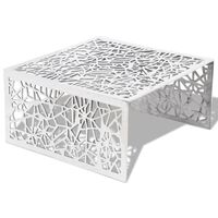 vidaXL Mesa de centro em alumínio, design aberto e geométrico prateado