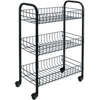 """Metaltex Kitchen Trolley with 3 Baskets """"Siena"""" Black"""