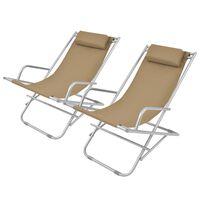 vidaXL Cadeiras de jardim reclináveis 2 pcs aço cinzento-acastanhado