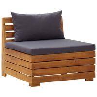 vidaXL Sofá de centro seccional c/ almofadões madeira de acácia maciça