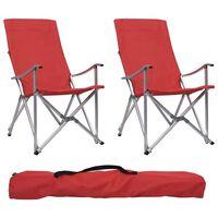 vidaXL Cadeiras de campismo dobráveis 2 pcs vermelho