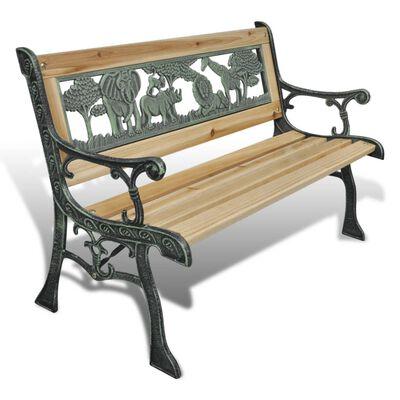 vidaXL Banco de jardim para crianças 84 cm madeira,