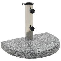 vidaXL Base de guarda-sol semicircular granito 10 kg cinzento