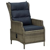 vidaXL Cadeira de jardim reclinável com almofadões vime PE castanho