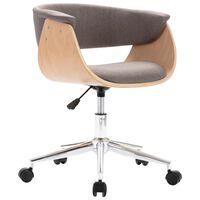 vidaXL Cadeira escritório giratória madeira/tecido cinza-acastanhado