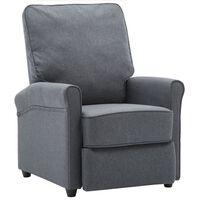 vidaXL Cadeira de TV reclinável tecido cinzento-escuro