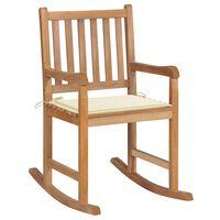 vidaXL Cadeira de baloiço com almofadão cor creme teca maciça