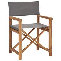 vidaXL Cadeira de realizador em madeira de teca maciça cinzento