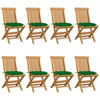 vidaXL Cadeiras de jardim c/ almofadões verdes 8 pcs teca maciça