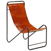 vidaXL Cadeira em couro genuíno castanho