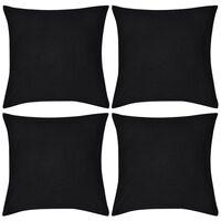 Capas de almofada algodão 4 pcs 80 x 80 cm preto