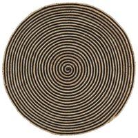vidaXL Tapete artesanal em juta com design em espiral preto 120 cm