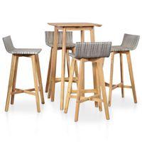 vidaXL 5 pcs conjunto de jantar exterior madeira acácia maciça