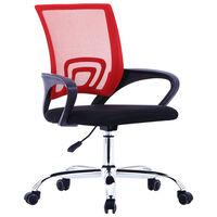 vidaXL Cadeira de escritório com encosto em malha tecido vermelho