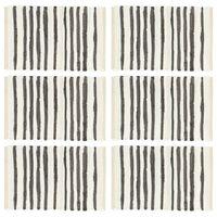 vidaXL Individual de mesa 6 pcs algodão 30x45 cm antracite e branco