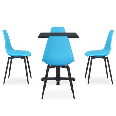 vidaXL 5 pcs conjunto de jantar para jardim metal e PP azul