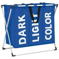 vidaXL Separador de roupa suja de 3 secções azul