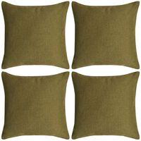 vidaXL Capa almofada 4 pcs, aspeto linho, verde 50x50 cm