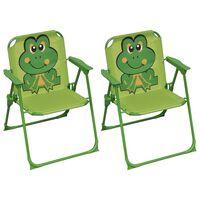 vidaXL Cadeiras de jardim infantis 2 pcs tecido verde