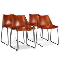 vidaXL Cadeiras de jantar 4 pcs couro genuíno castanho